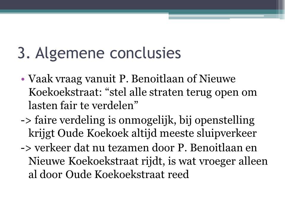 """3. Algemene conclusies •Vaak vraag vanuit P. Benoitlaan of Nieuwe Koekoekstraat: """"stel alle straten terug open om lasten fair te verdelen"""" -> faire ve"""