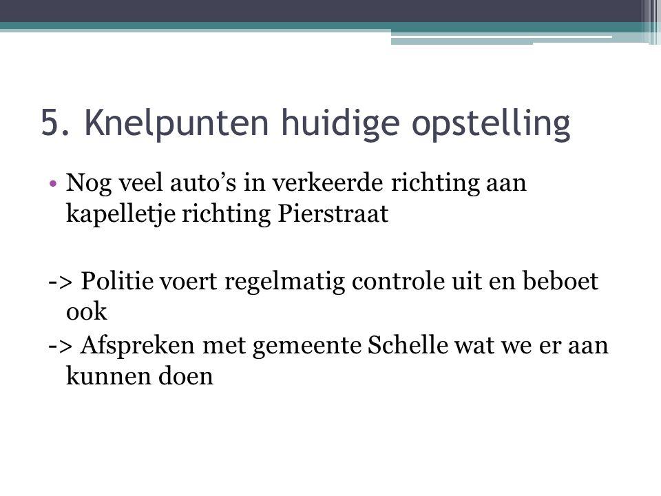 5. Knelpunten huidige opstelling •Nog veel auto's in verkeerde richting aan kapelletje richting Pierstraat -> Politie voert regelmatig controle uit en
