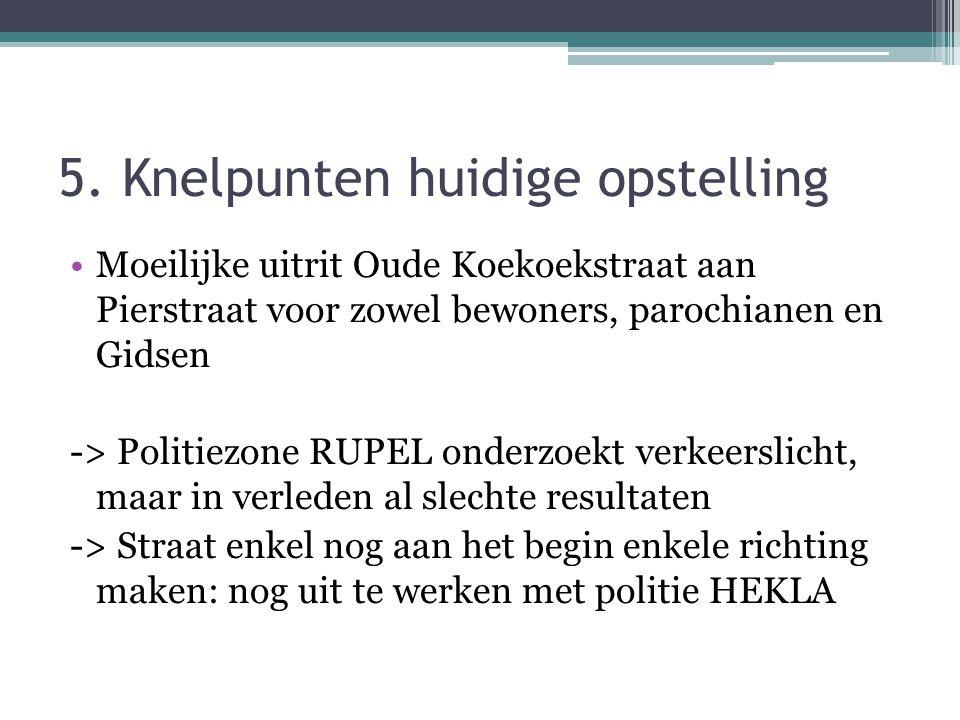 5. Knelpunten huidige opstelling •Moeilijke uitrit Oude Koekoekstraat aan Pierstraat voor zowel bewoners, parochianen en Gidsen -> Politiezone RUPEL o