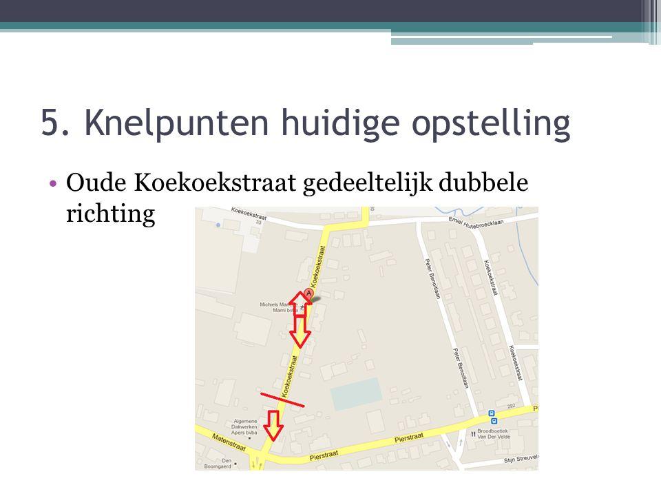 5. Knelpunten huidige opstelling •Oude Koekoekstraat gedeeltelijk dubbele richting
