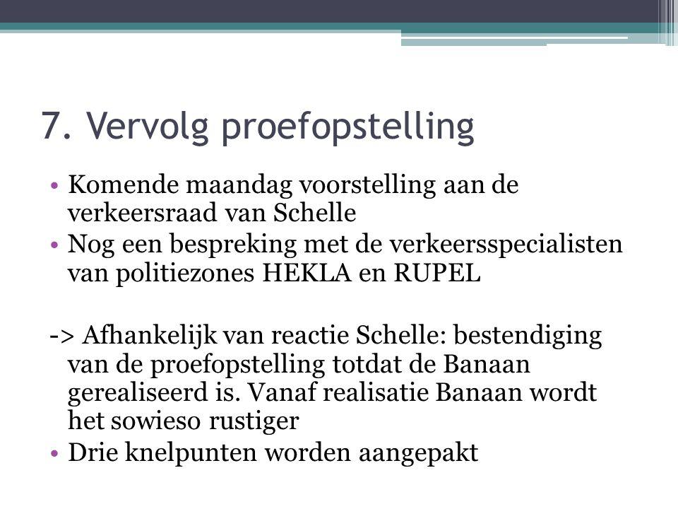 7. Vervolg proefopstelling •Komende maandag voorstelling aan de verkeersraad van Schelle •Nog een bespreking met de verkeersspecialisten van politiezo