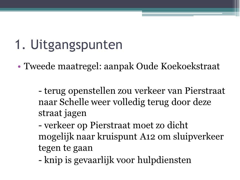 1. Uitgangspunten •Tweede maatregel: aanpak Oude Koekoekstraat - terug openstellen zou verkeer van Pierstraat naar Schelle weer volledig terug door de