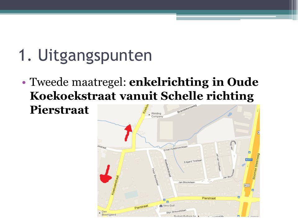 1. Uitgangspunten •Tweede maatregel: enkelrichting in Oude Koekoekstraat vanuit Schelle richting Pierstraat