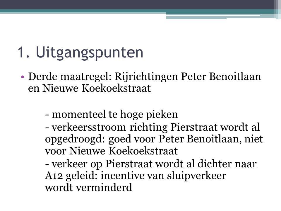 1. Uitgangspunten •Derde maatregel: Rijrichtingen Peter Benoitlaan en Nieuwe Koekoekstraat - momenteel te hoge pieken - verkeersstroom richting Pierst