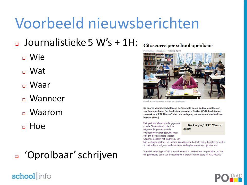 Voorbeeld nieuwsberichten  Journalistieke 5 W's + 1H:  Wie  Wat  Waar  Wanneer  Waarom  Hoe  'Oprolbaar' schrijven