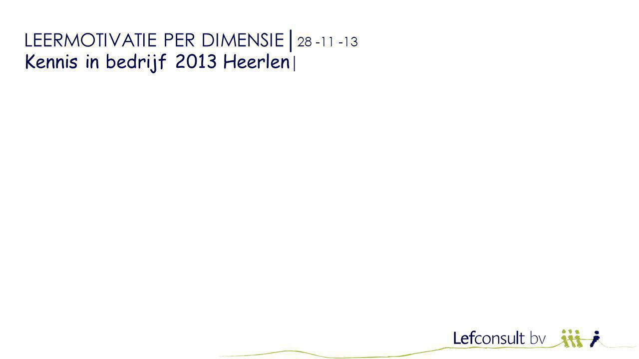 LEERMOTIVATIE PER DIMENSIE│ 28 -11 -13 Kennis in bedrijf 2013 Heerlen │