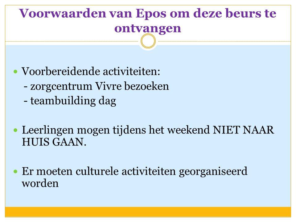 Voorwaarden van Epos om deze beurs te ontvangen  Voorbereidende activiteiten: - zorgcentrum Vivre bezoeken - teambuilding dag  Leerlingen mogen tijdens het weekend NIET NAAR HUIS GAAN.