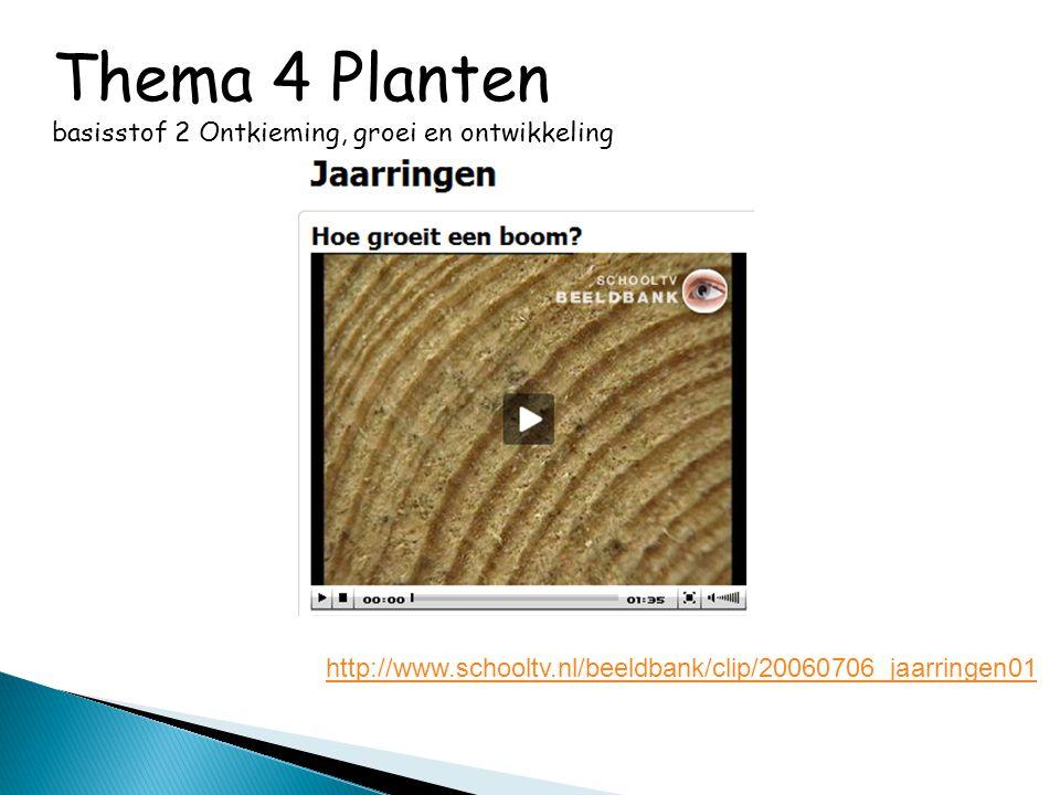 Thema 4 Planten basisstof 2 Ontkieming, groei en ontwikkeling http://www.schooltv.nl/beeldbank/clip/20060706_jaarringen01
