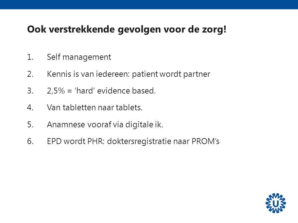 Workshop Innovatie en Apps in de zorg: Ook verstrekkende gevolgen voor de zorg! 1.Self management 2.Kennis is van iedereen: patient wordt partner 3.2,