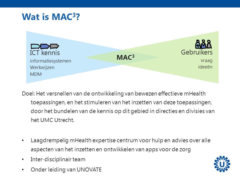 Wat is MAC 3 ? Doel: Het versnellen van de ontwikkeling van bewezen effectieve mHealth toepassingen, en het stimuleren van het inzetten van deze toepa