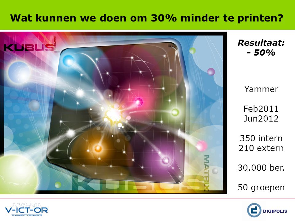 DIGIPOLIS Wat kunnen we doen om 30% minder te printen? Yammer Feb2011 Jun2012 350 intern 210 extern 30.000 ber. 50 groepen Resultaat: - 50%