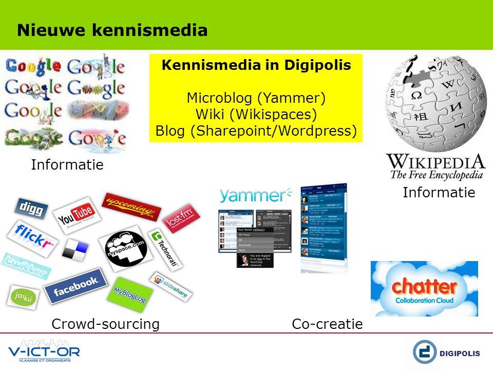 DIGIPOLIS Nieuwe kennismedia Co-creatie Crowd-sourcing Informatie Kennismedia in Digipolis Microblog (Yammer) Wiki (Wikispaces) Blog (Sharepoint/Wordpress)