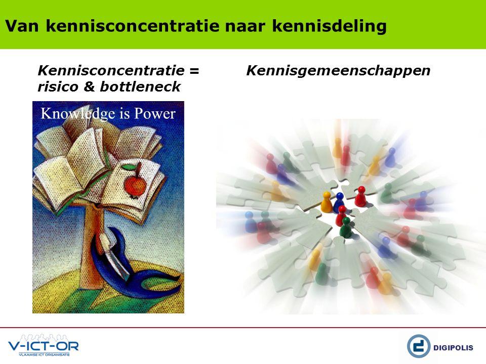 DIGIPOLIS Van kennisconcentratie naar kennisdeling Kennisconcentratie = risico & bottleneck Kennisgemeenschappen
