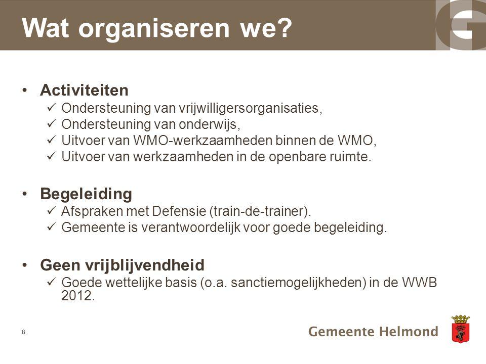 Wat organiseren we? •Activiteiten  Ondersteuning van vrijwilligersorganisaties,  Ondersteuning van onderwijs,  Uitvoer van WMO-werkzaamheden binnen