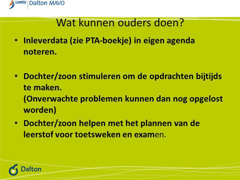 Wat kunnen ouders doen. • Inleverdata (zie PTA-boekje) in eigen agenda noteren.