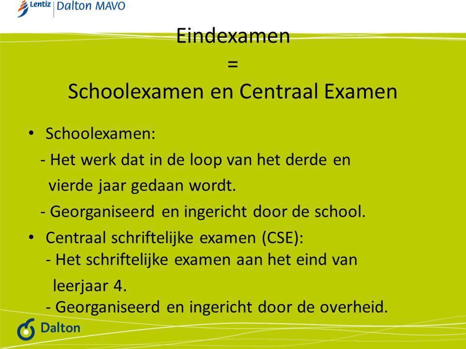 Eindexamen = Schoolexamen en Centraal Examen • Schoolexamen: - Het werk dat in de loop van het derde en vierde jaar gedaan wordt.