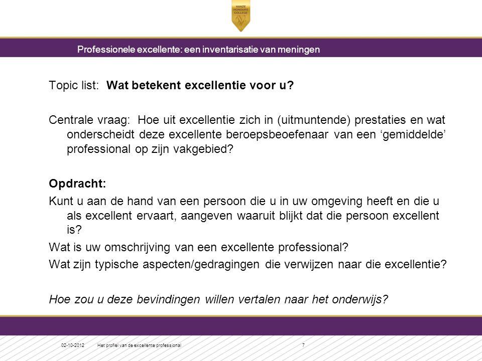 Topic list: Wat betekent excellentie voor u? Centrale vraag: Hoe uit excellentie zich in (uitmuntende) prestaties en wat onderscheidt deze excellente