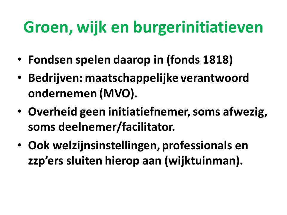 Groen, wijk en burgerinitiatieven • Fondsen spelen daarop in (fonds 1818) • Bedrijven: maatschappelijke verantwoord ondernemen (MVO). • Overheid geen
