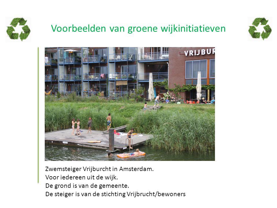 Voorbeelden van groene wijkinitiatieven Zwemsteiger Vrijburcht in Amsterdam. Voor iedereen uit de wijk. De grond is van de gemeente. De steiger is van