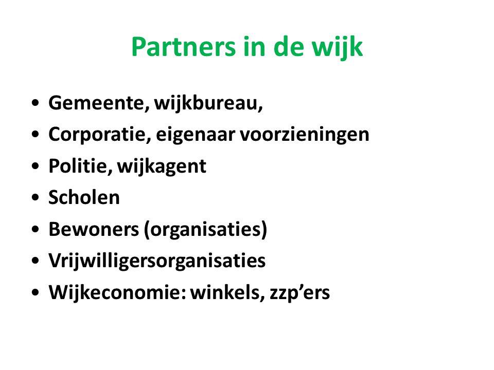 Partners in de wijk •Gemeente, wijkbureau, •Corporatie, eigenaar voorzieningen •Politie, wijkagent •Scholen •Bewoners (organisaties) •Vrijwilligersorg