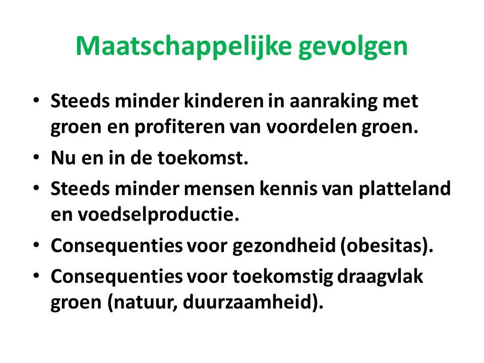 Maatschappelijke gevolgen • Steeds minder kinderen in aanraking met groen en profiteren van voordelen groen. • Nu en in de toekomst. • Steeds minder m