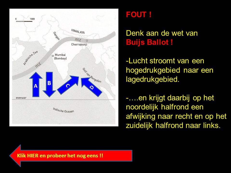 FOUT ! Denk aan de wet van Buijs Ballot ! -Lucht stroomt van een hogedrukgebied naar een lagedrukgebied. -….en krijgt daarbij op het noordelijk halfro