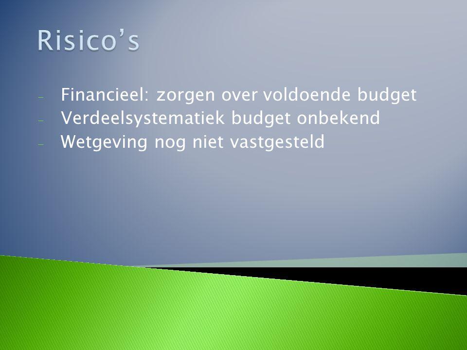 - Financieel: zorgen over voldoende budget - Verdeelsystematiek budget onbekend - Wetgeving nog niet vastgesteld