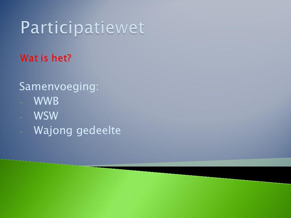 Samenvoeging: - WWB - WSW - Wajong gedeelte Wat is het?