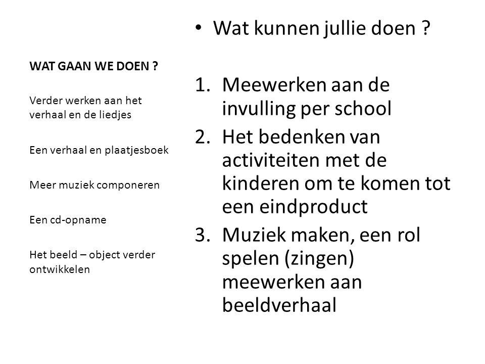 planning • Maandag 11 november WERKDAG : • Werkplan per school • Muziek voor de Cd • Een beeld verhaal De Zwaluw - Start 29 nov .