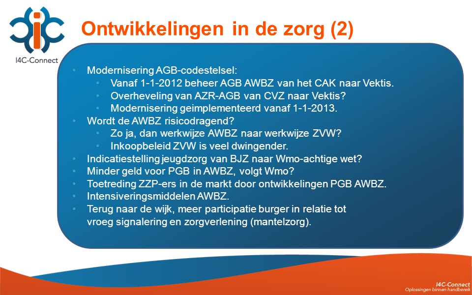 •Modernisering AGB-codestelsel: •Vanaf 1-1-2012 beheer AGB AWBZ van het CAK naar Vektis.