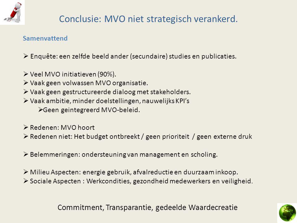 Conclusie: MVO niet strategisch verankerd. Samenvattend  Enquête: een zelfde beeld ander (secundaire) studies en publicaties.  Veel MVO initiatieven