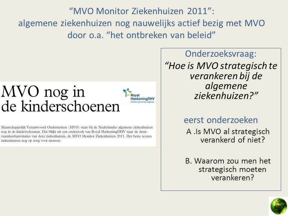 """""""MVO Monitor Ziekenhuizen 2011"""": algemene ziekenhuizen nog nauwelijks actief bezig met MVO door o.a. """"het ontbreken van beleid"""" Onderzoeksvraag: """"Hoe"""