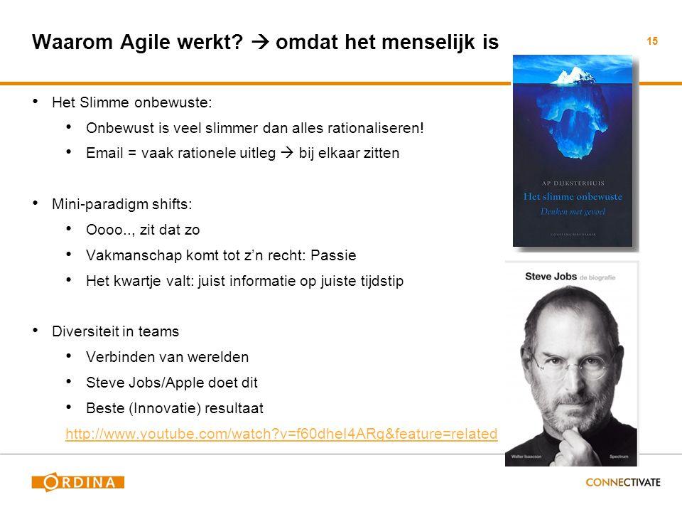Waarom Agile werkt?  omdat het menselijk is • Het Slimme onbewuste: • Onbewust is veel slimmer dan alles rationaliseren! • Email = vaak rationele uit