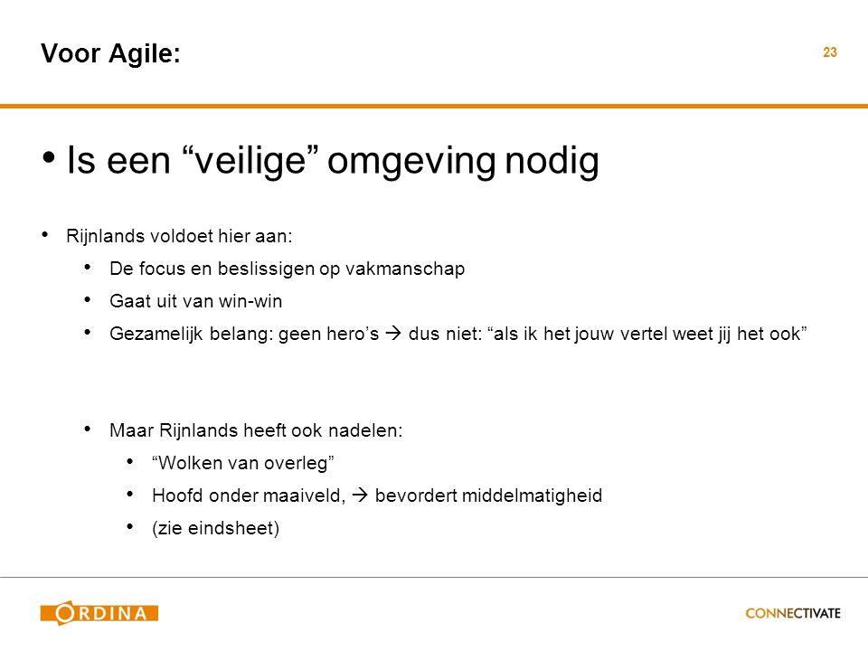 """Voor Agile: • Is een """"veilige"""" omgeving nodig • Rijnlands voldoet hier aan: • De focus en beslissigen op vakmanschap • Gaat uit van win-win • Gezameli"""