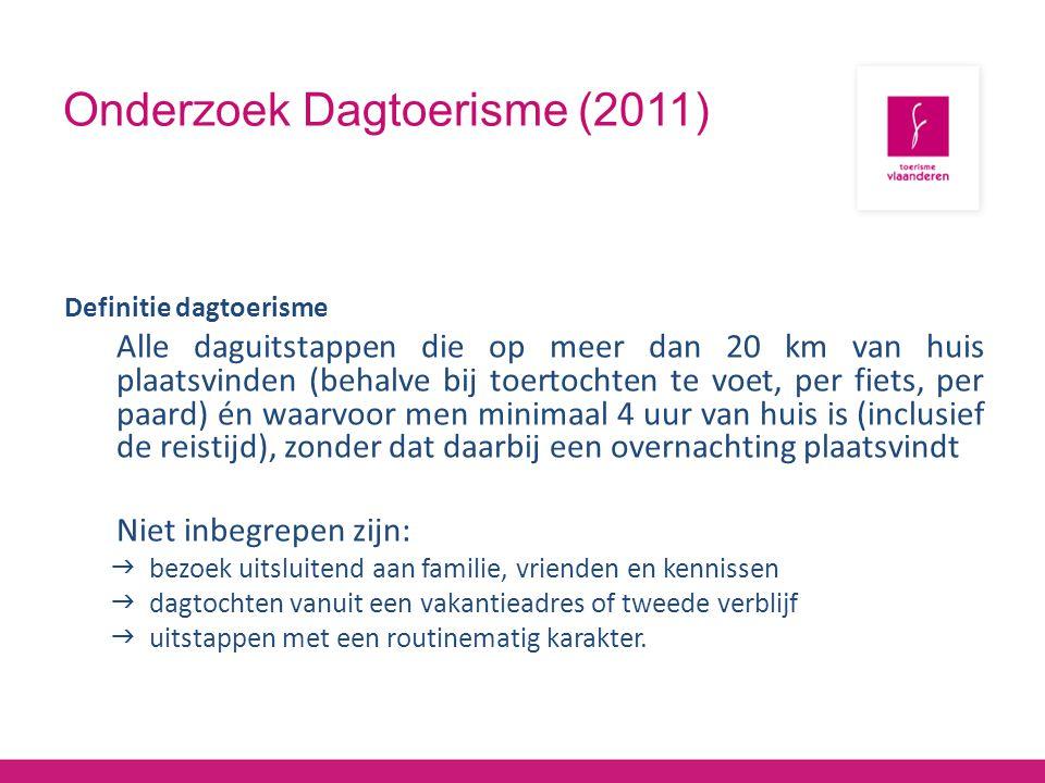 Onderzoek Dagtoerisme (2011) Definitie dagtoerisme Alle daguitstappen die op meer dan 20 km van huis plaatsvinden (behalve bij toertochten te voet, pe