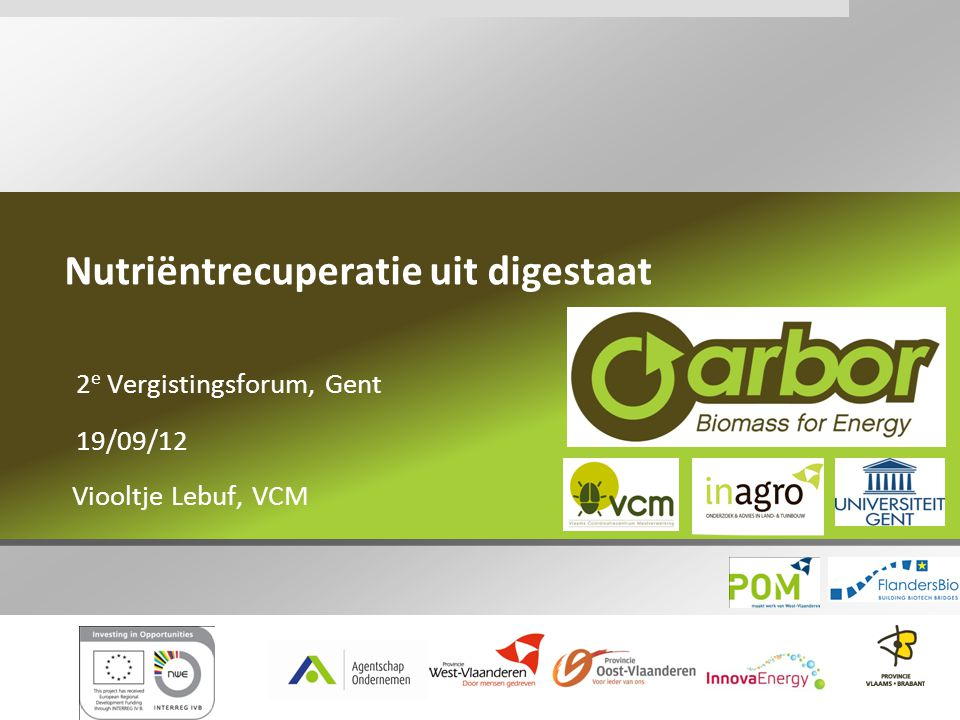 Inhoud I.Inleiding VCM II.Digestaat in Vlaanderen III.Nutriëntrecuperatie IV.Beschrijving van de technieken V.Karakterisatie van de eindproducten VI.Nood aan verder onderzoek VII.Gerelateerde projecten VIII.