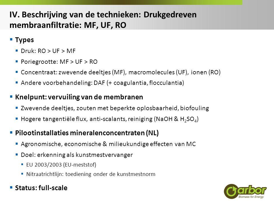 IV. Beschrijving van de technieken: Drukgedreven membraanfiltratie: MF, UF, RO  Types  Druk: RO > UF > MF  Poriegrootte: MF > UF > RO  Concentraat