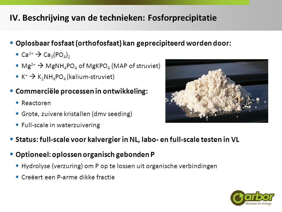 IV. Beschrijving van de technieken: Fosforprecipitatie  Oplosbaar fosfaat (orthofosfaat) kan geprecipiteerd worden door:  Ca 2+  Ca 3 (PO 4 ) 2  M