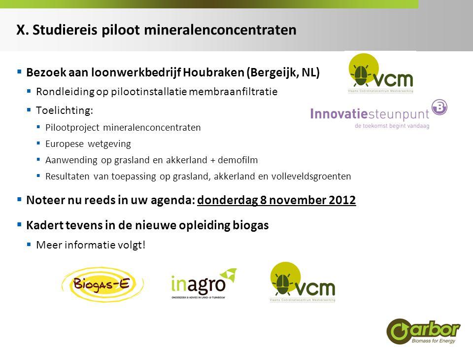 X. Studiereis piloot mineralenconcentraten  Bezoek aan loonwerkbedrijf Houbraken (Bergeijk, NL)  Rondleiding op pilootinstallatie membraanfiltratie