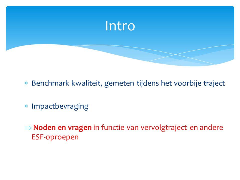 Intro  Benchmark kwaliteit, gemeten tijdens het voorbije traject  Impactbevraging  Noden en vragen in functie van vervolgtraject en andere ESF-opro