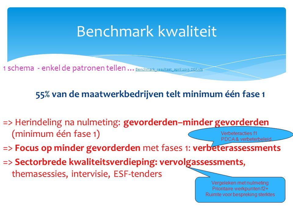 Benchmark kwaliteit 1 schema - enkel de patronen tellen … Benchmark_resultaat_april 2013 DEF.xls Benchmark_resultaat_april 2013 DEF.xls 55% van de maa