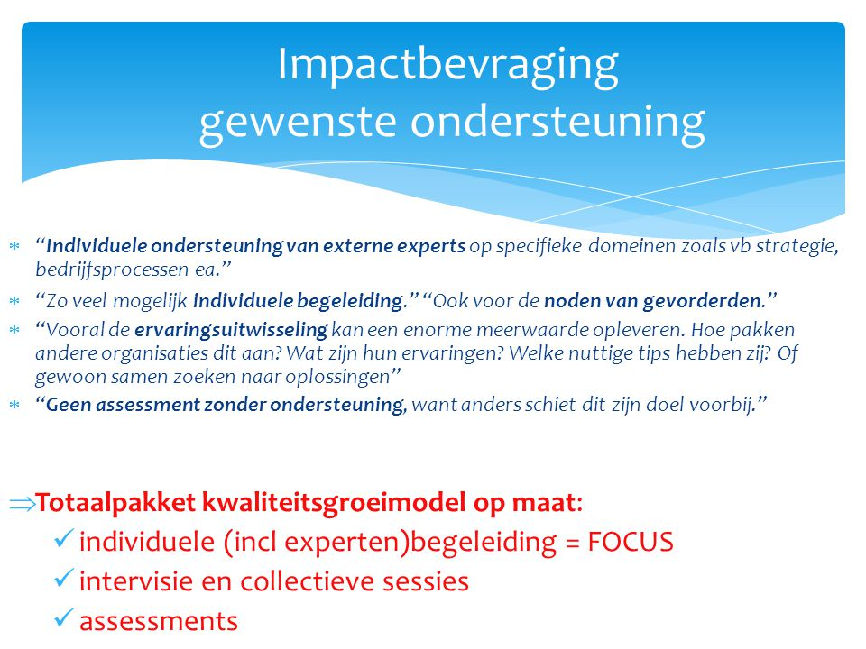 """Impactbevraging gewenste ondersteuning  """"Individuele ondersteuning van externe experts op specifieke domeinen zoals vb strategie, bedrijfsprocessen e"""