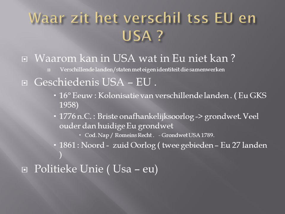  Waarom kan in USA wat in Eu niet kan ?  Verschillende landen/staten met eigen identiteit die samenwerken  Geschiedenis USA – EU.  16° Eeuw : Kolo