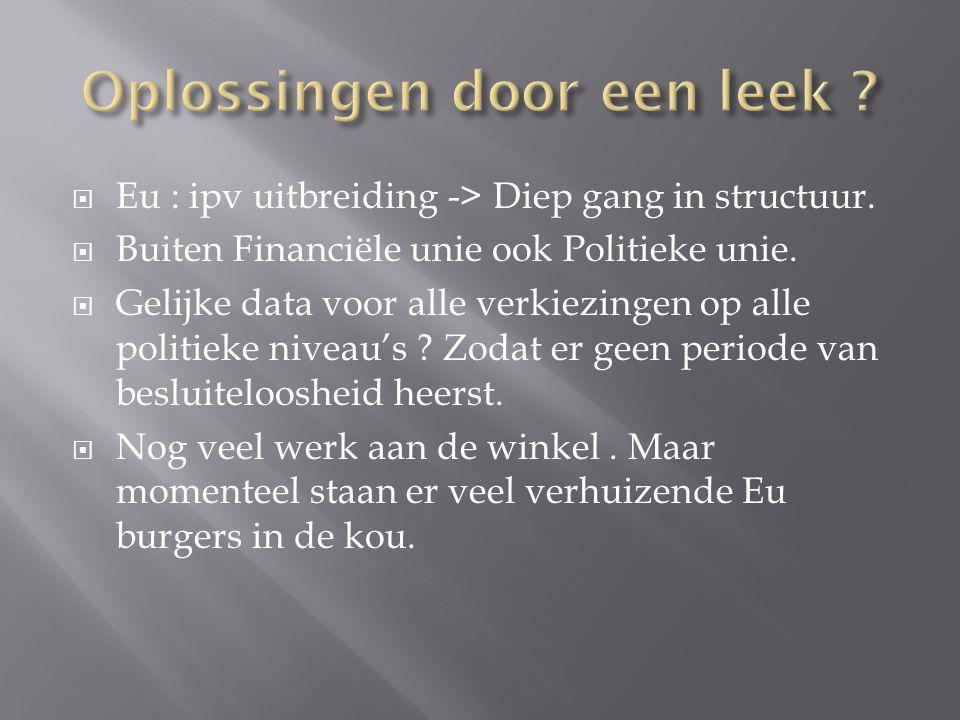  Eu : ipv uitbreiding -> Diep gang in structuur.  Buiten Financiële unie ook Politieke unie.