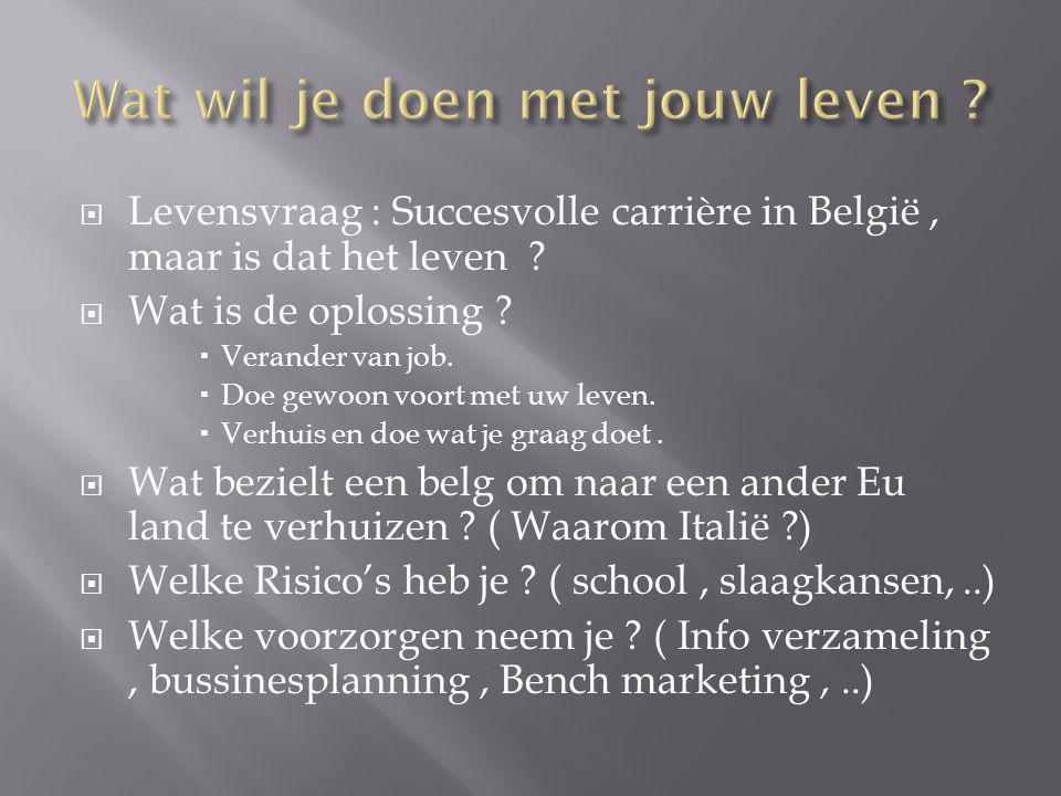 Levensvraag : Succesvolle carrière in België, maar is dat het leven ?  Wat is de oplossing ?  Verander van job.  Doe gewoon voort met uw leven. 