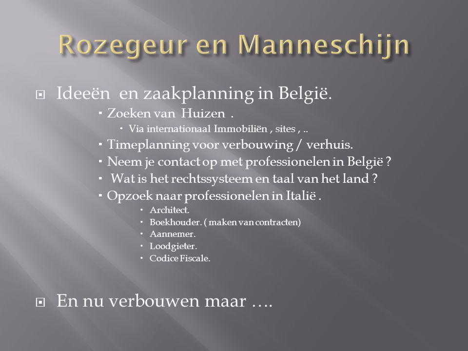  Ideeën en zaakplanning in België.  Zoeken van Huizen.  Via internationaal Immobiliën, sites,..  Timeplanning voor verbouwing / verhuis.  Neem je