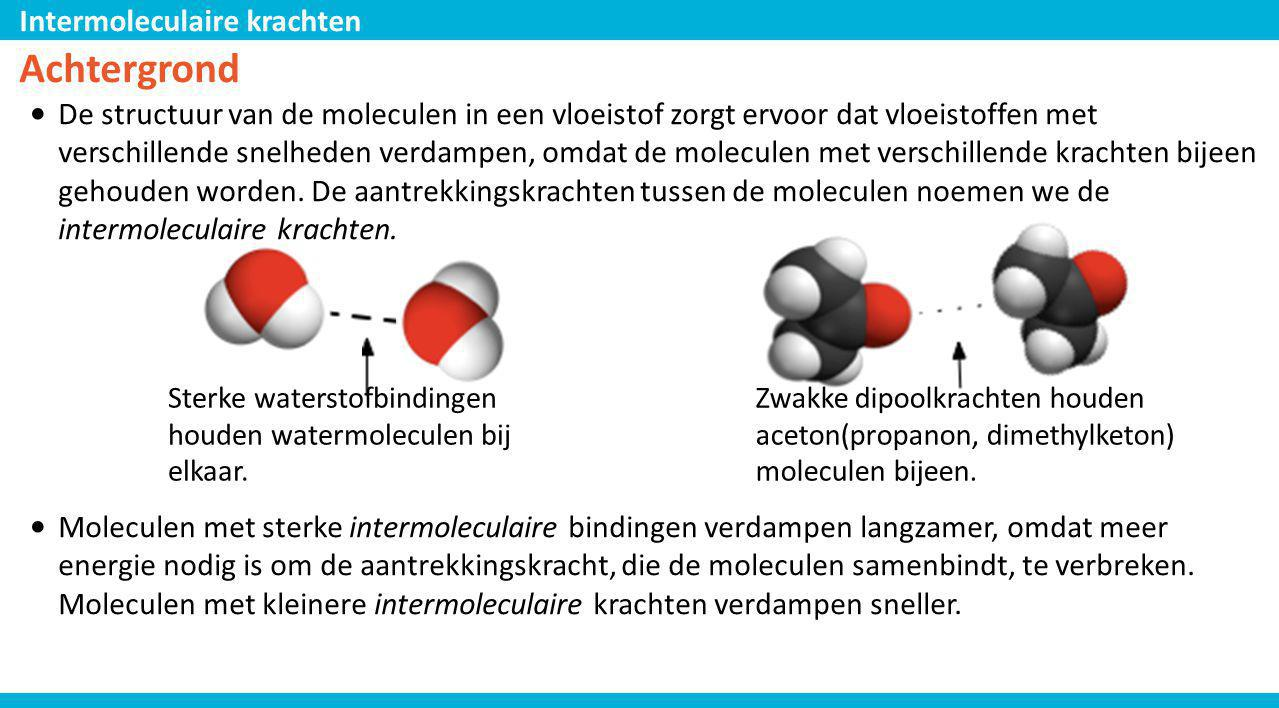 Intermoleculaire krachten Achtergrond De verschillende soorten intermoleculaire bindingen zijn: waterstofbrug dipool binding door ionen veroorzaakte dipool door een dipool veroorzaakte dipool dispersie sterk zwak