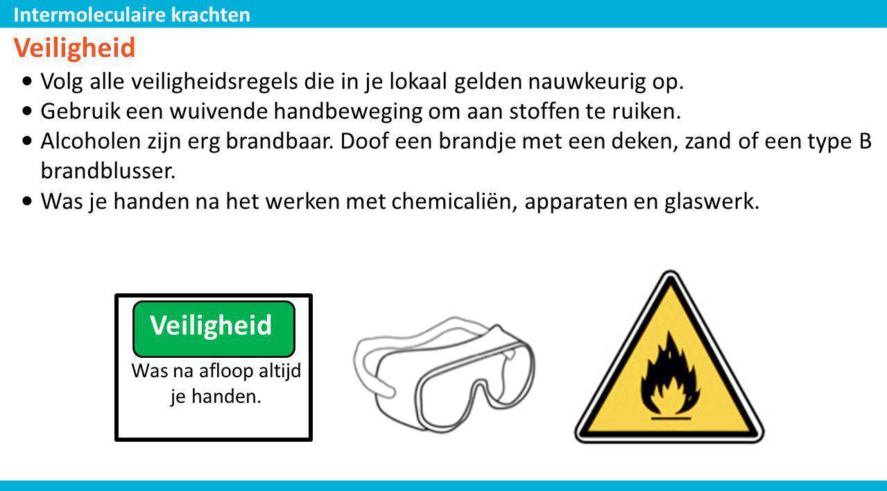 Intermoleculaire krachten Veiligheid • Volg alle veiligheidsregels die in je lokaal gelden nauwkeurig op. • Gebruik een wuivende handbeweging om aan s