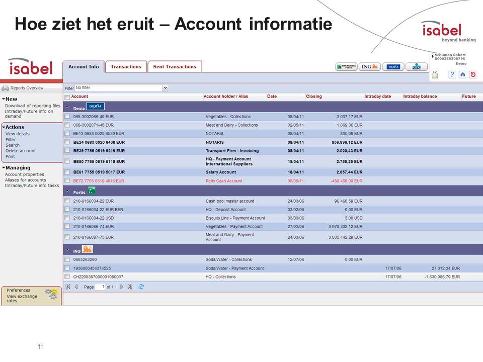 Hoe ziet het eruit – Account informatie 11