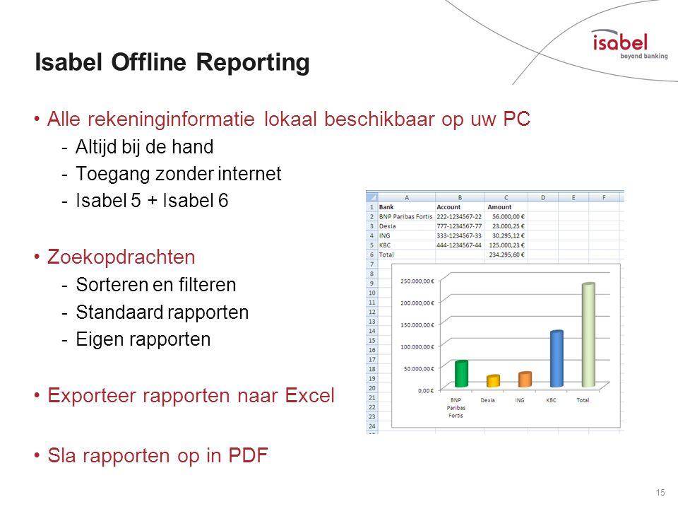 Isabel Offline Reporting •Alle rekeninginformatie lokaal beschikbaar op uw PC -Altijd bij de hand -Toegang zonder internet -Isabel 5 + Isabel 6 •Zoekopdrachten -Sorteren en filteren -Standaard rapporten -Eigen rapporten •Exporteer rapporten naar Excel •Sla rapporten op in PDF 15